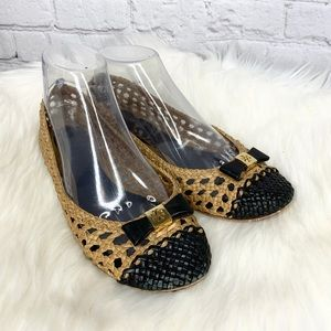 Tory Burch Carlyle Woven Leather Ballet Flats